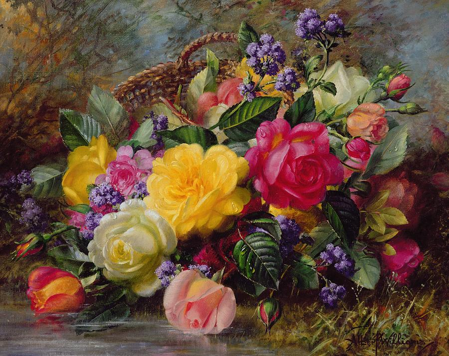 Roses By A Pond On A Grassy Bank  Painting