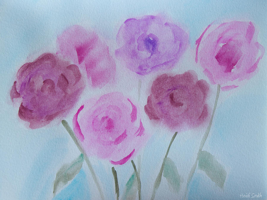 Watercolor Painting - Roses by Heidi Smith