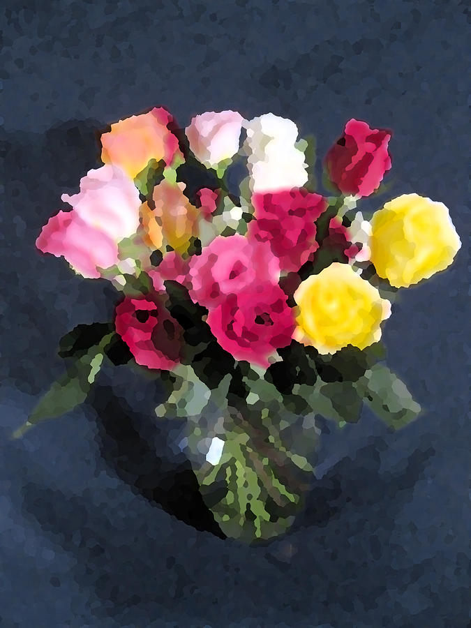 Roses In A Vase Digital Art
