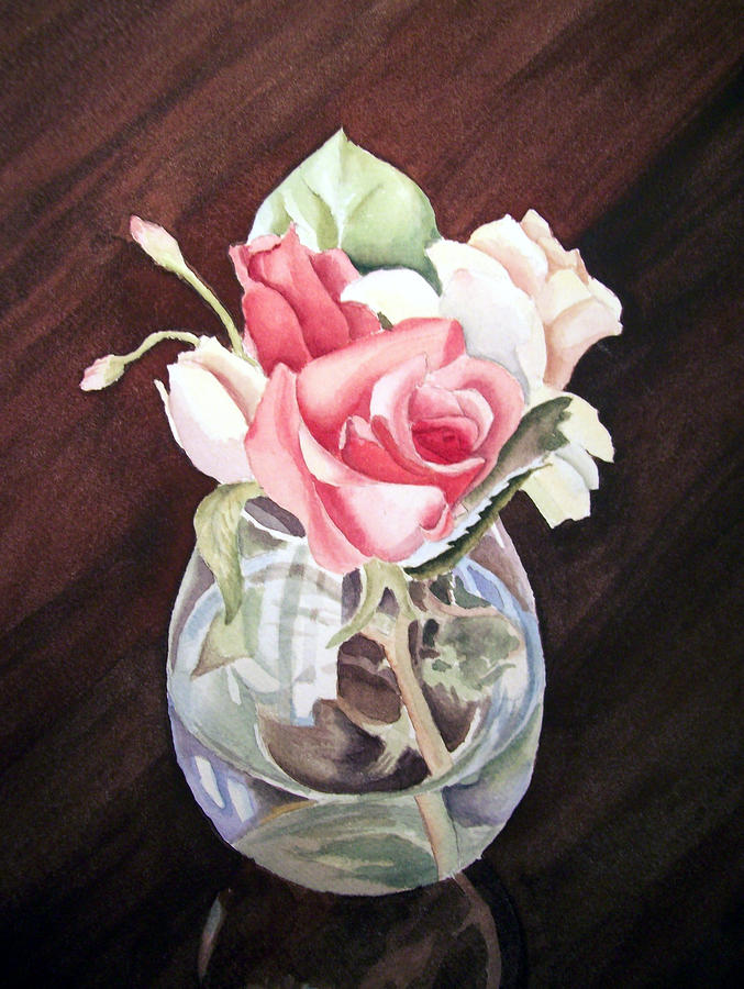 Roses In The Glass Vase Painting  - Roses In The Glass Vase Fine Art Print