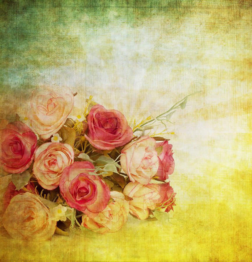 Roses Pattern Retro Design Painting  - Roses Pattern Retro Design Fine Art Print