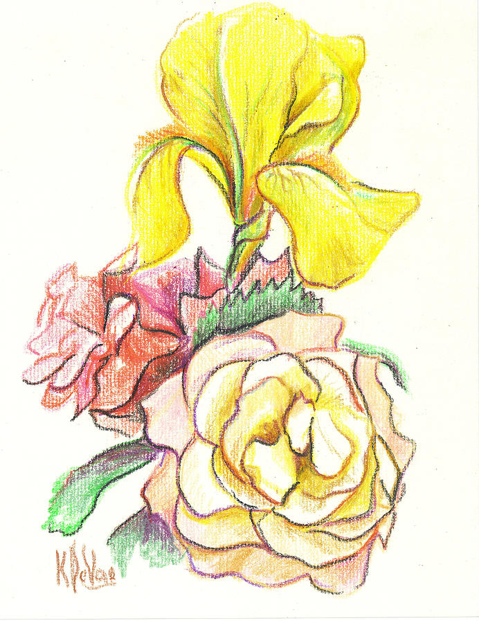 Roses With Yellow Iris Drawing  - Roses With Yellow Iris Fine Art Print