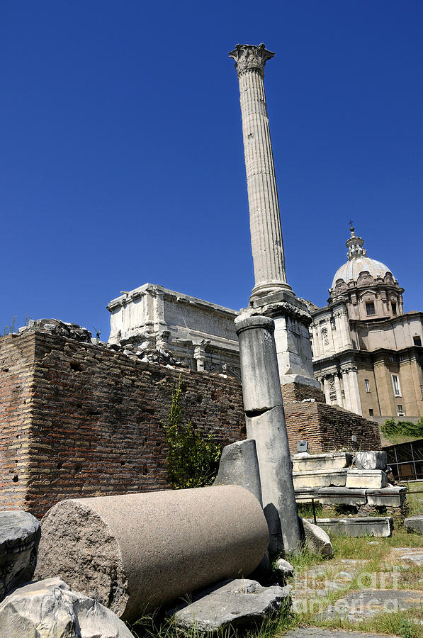 Rostra. Column Of Phocas And Septimius Severus Arch In The Roman Forum. Rome Photograph