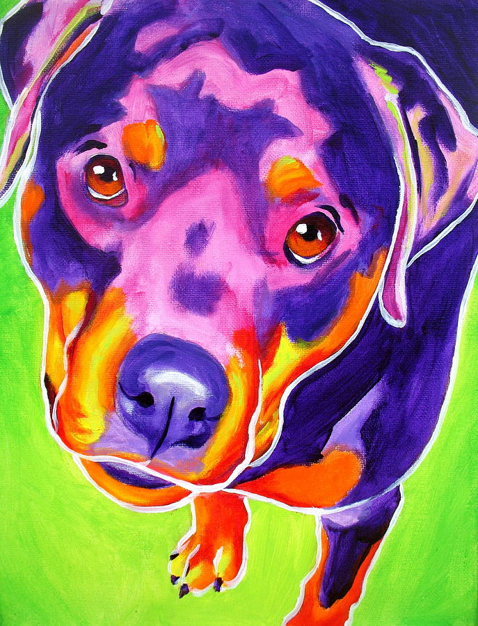 Rottweiler - Summer Puppy Love Painting  - Rottweiler - Summer Puppy Love Fine Art Print