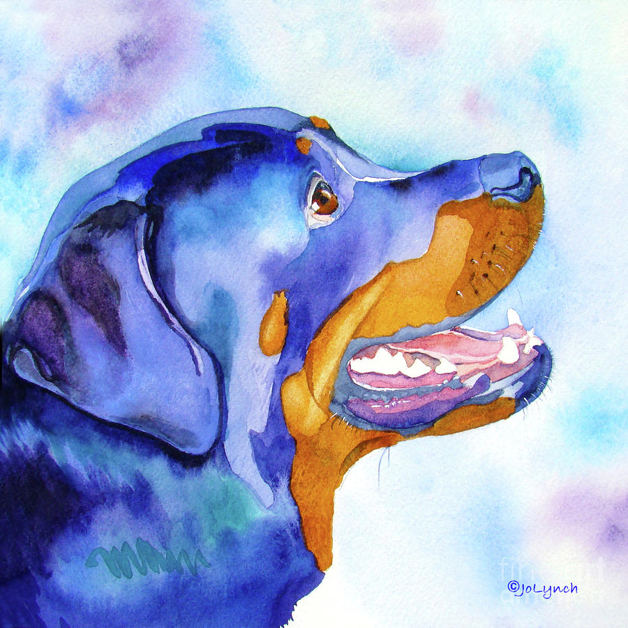 Rotty Rottweiler Blues Painting  - Rotty Rottweiler Blues Fine Art Print