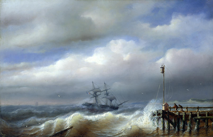 Rough Sea In Stormy Weather Painting  - Rough Sea In Stormy Weather Fine Art Print