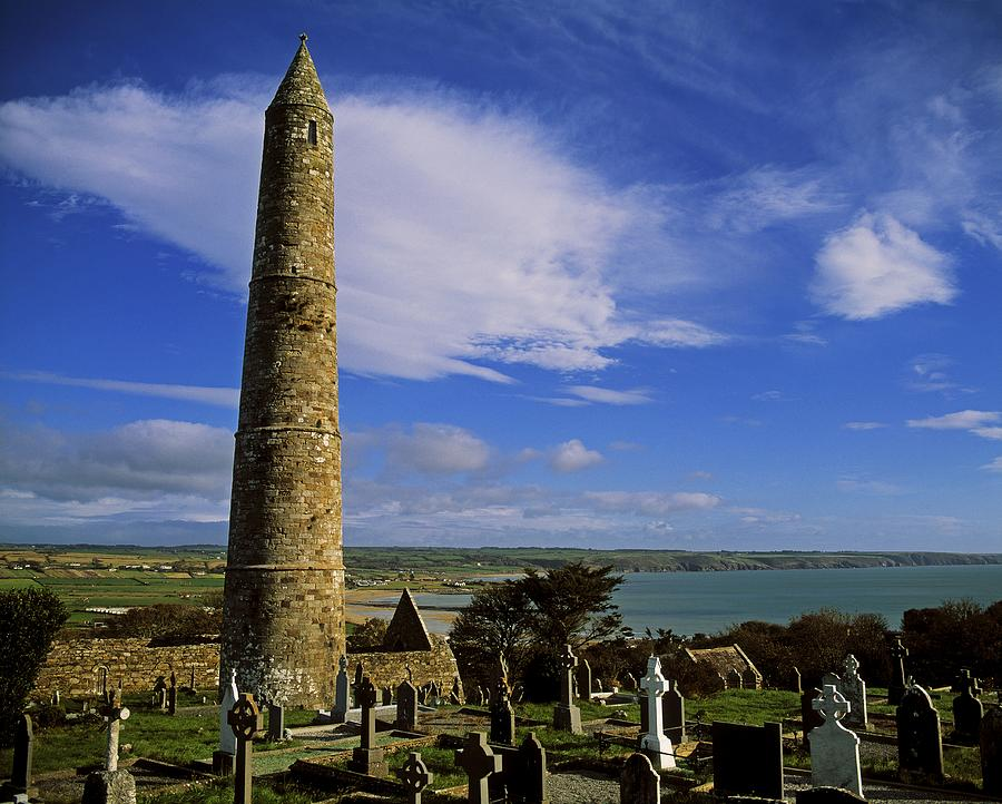 Abbeys Photograph - Round Tower, Ardmore, Co Waterford by The Irish Image Collection
