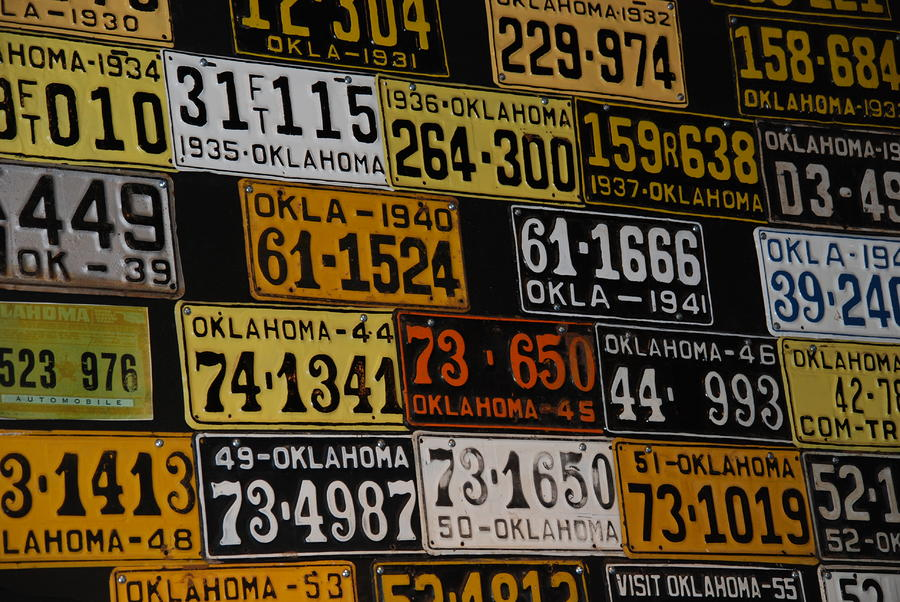 Route 66 Oklahoma Car Tags Photograph  - Route 66 Oklahoma Car Tags Fine Art Print