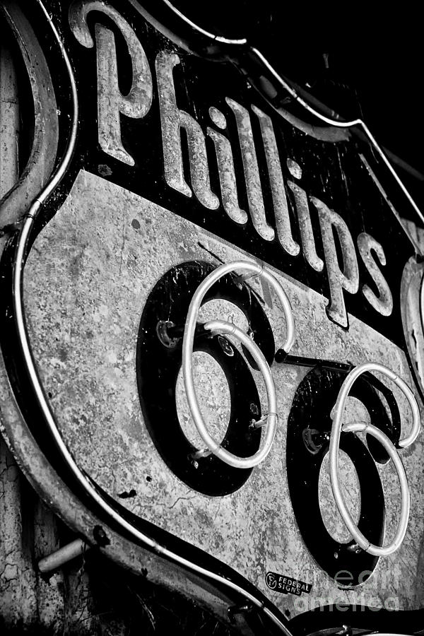Route 66 Sign Black And White Photograph