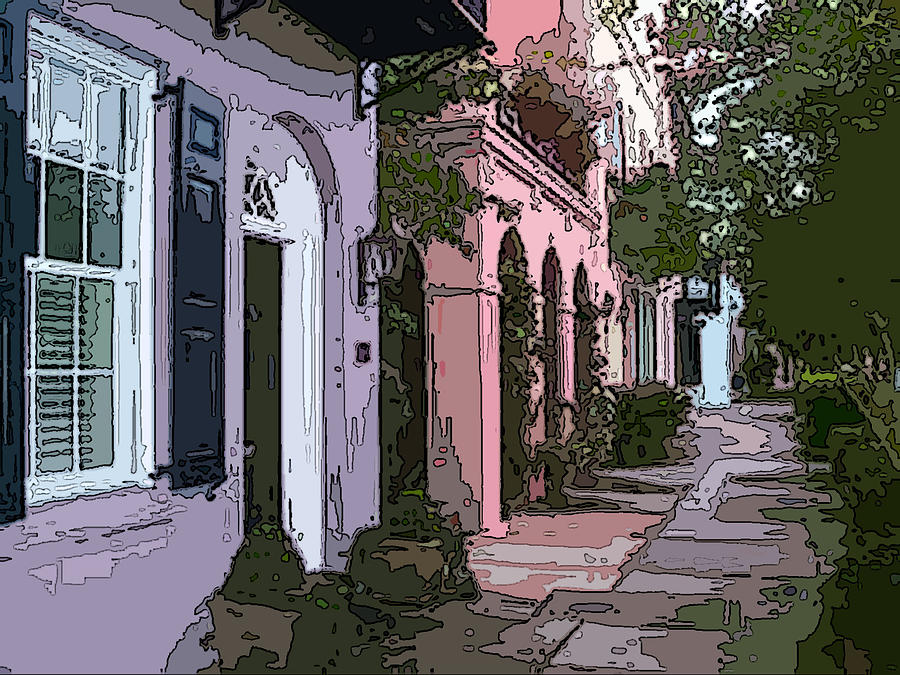 Row houses charleston digital art by jeri khajeh noori for Charleston row houses