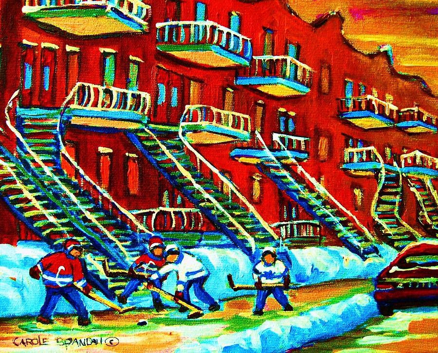 Rowhouses And Hockey Painting  - Rowhouses And Hockey Fine Art Print