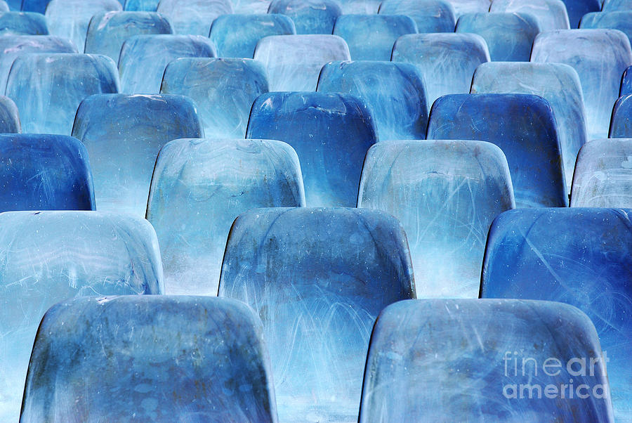Rows Of Blue Chairs Photograph  - Rows Of Blue Chairs Fine Art Print