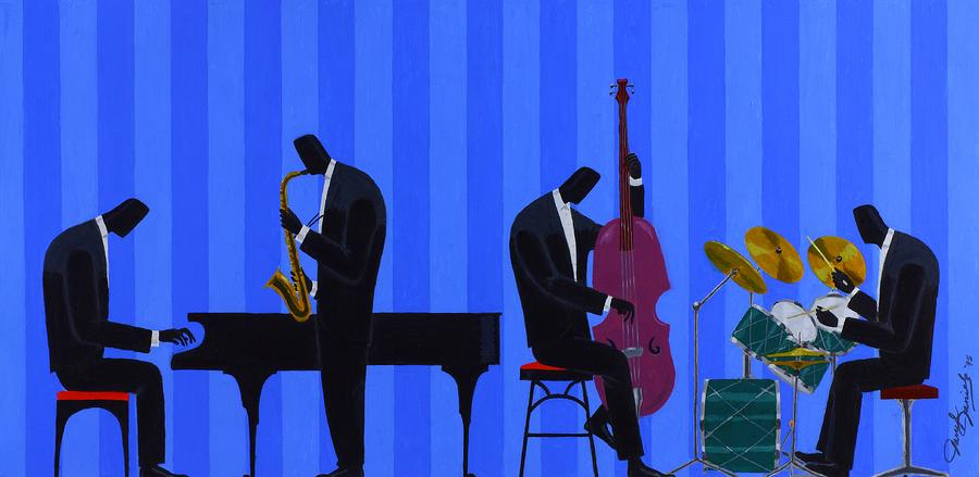 Royal Blues Quartet Painting  - Royal Blues Quartet Fine Art Print