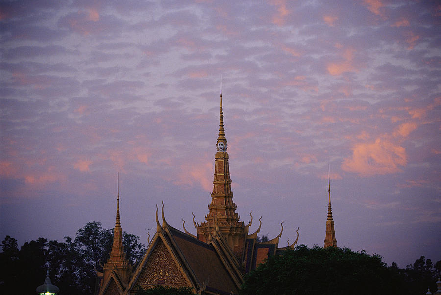 Royal Palace Rooftop At Dawn, Phnom Photograph  - Royal Palace Rooftop At Dawn, Phnom Fine Art Print