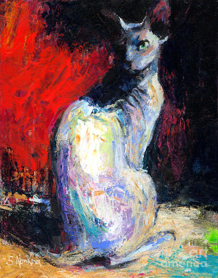 Royal Sphynx Cat Painting Painting  - Royal Sphynx Cat Painting Fine Art Print