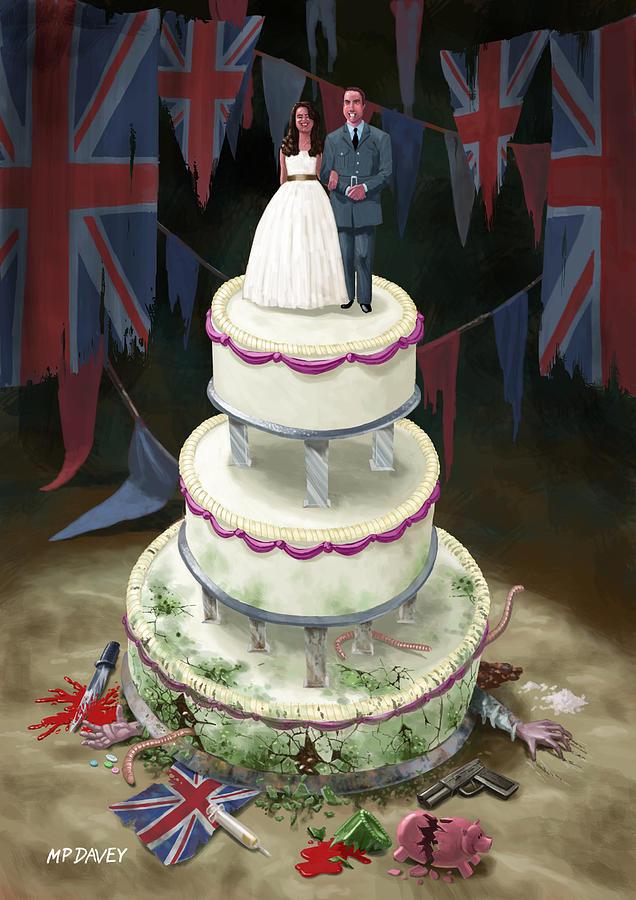 Royal Wedding 2011 cake Drawing Royal Wedding 2011 cake Fine Art Print