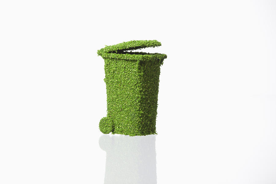 Rubbish Bin Covered With Grass On White Background Photograph