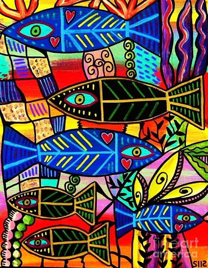 Ruby Coral Fish Painting By Sandra Silberzweig