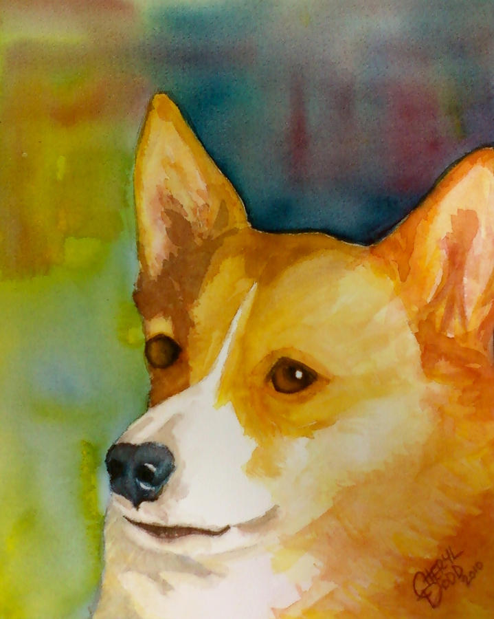 Ruby The Corgi Painting  - Ruby The Corgi Fine Art Print