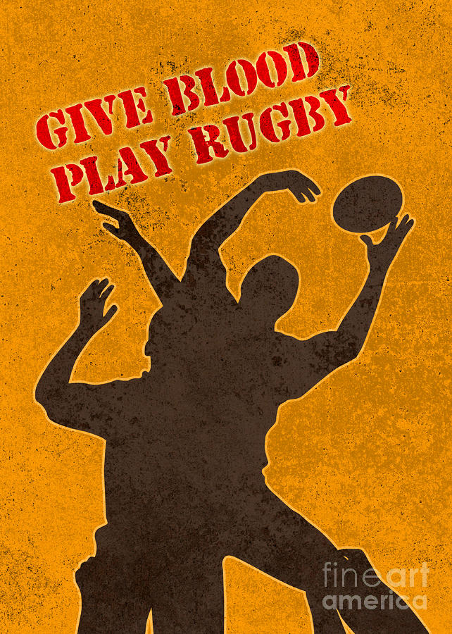 Rugby Player Jumping Catching Ball In Lineout Digital Art  - Rugby Player Jumping Catching Ball In Lineout Fine Art Print