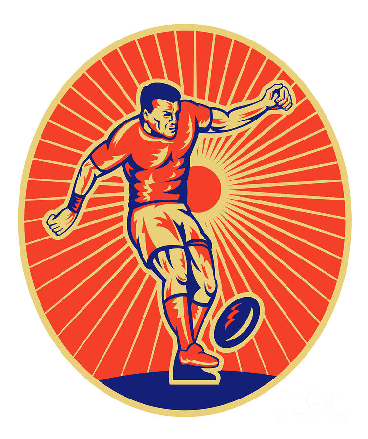 Rugby Player Kicking Ball Woodcut Digital Art
