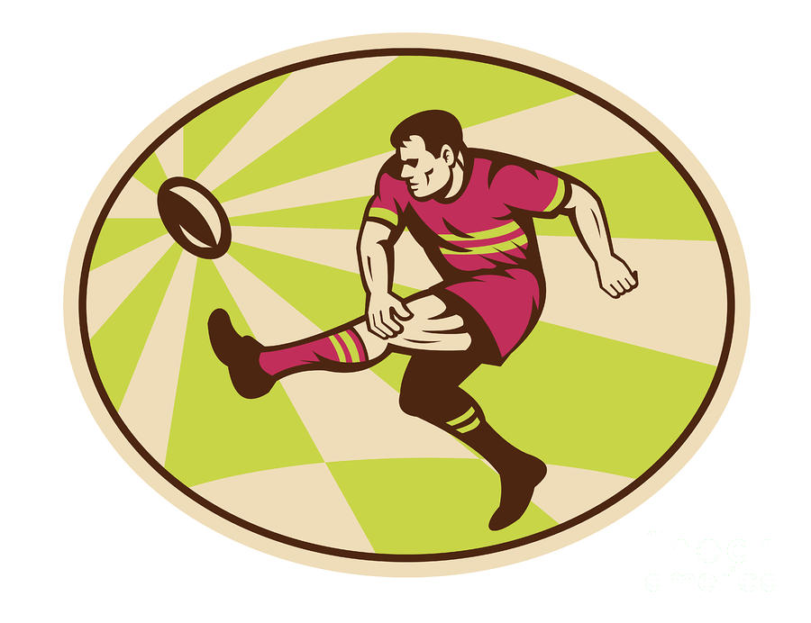 Rugby Player Kicking The Ball Retro Digital Art