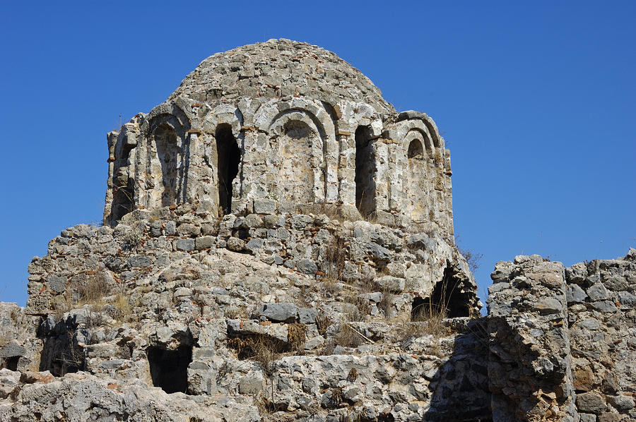 Ruins Of Byzantine Basilica Alanya Castle Turkey Photograph  - Ruins Of Byzantine Basilica Alanya Castle Turkey Fine Art Print