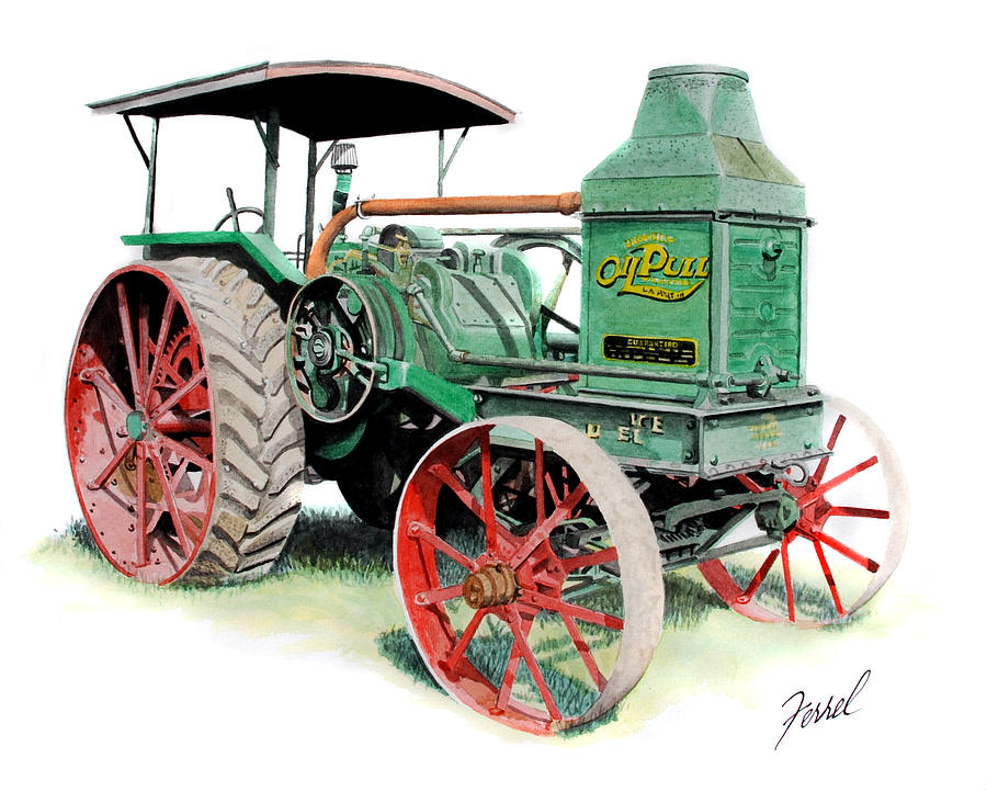 Rumely Oil Pull 2040 Painting  - Rumely Oil Pull 2040 Fine Art Print