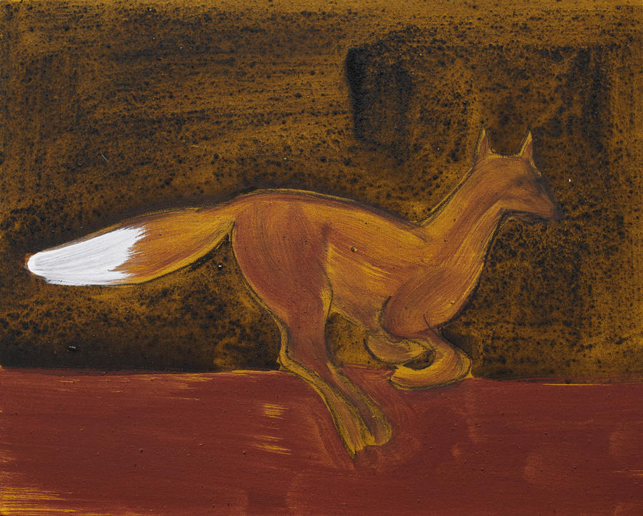 Running Fox In Iron Oxide And Lime Painting  - Running Fox In Iron Oxide And Lime Fine Art Print