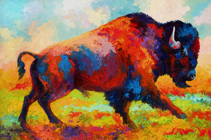 Running Free - Bison Painting  - Running Free - Bison Fine Art Print