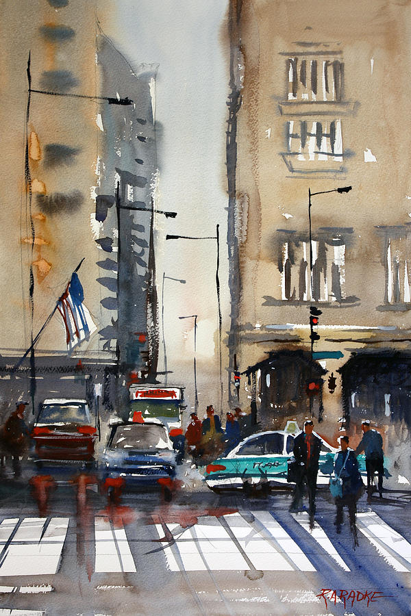 Rush Hour - Chicago Painting  - Rush Hour - Chicago Fine Art Print