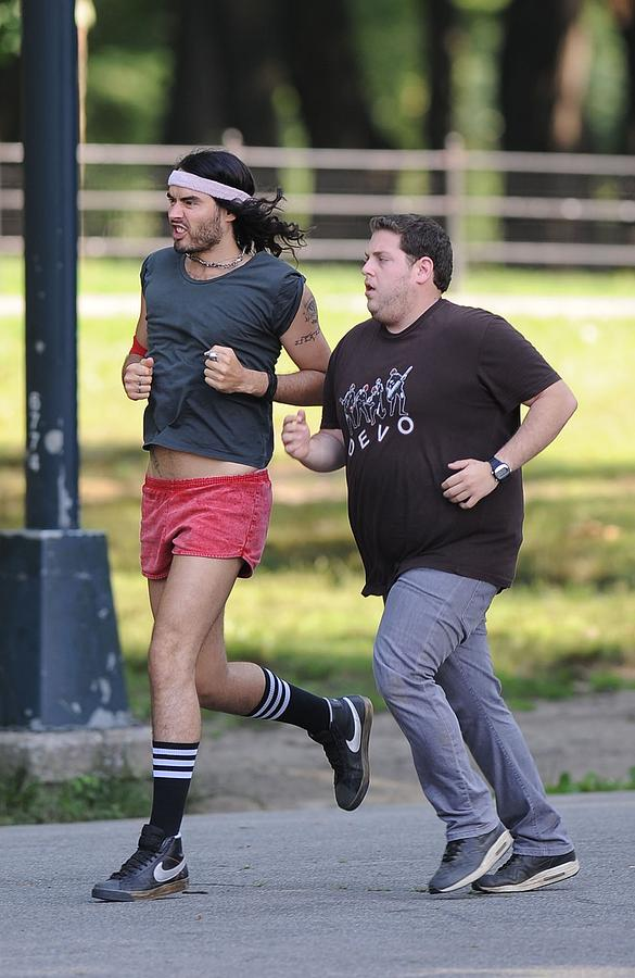 Russell Brand, Jonah Hill On Location Photograph  - Russell Brand, Jonah Hill On Location Fine Art Print