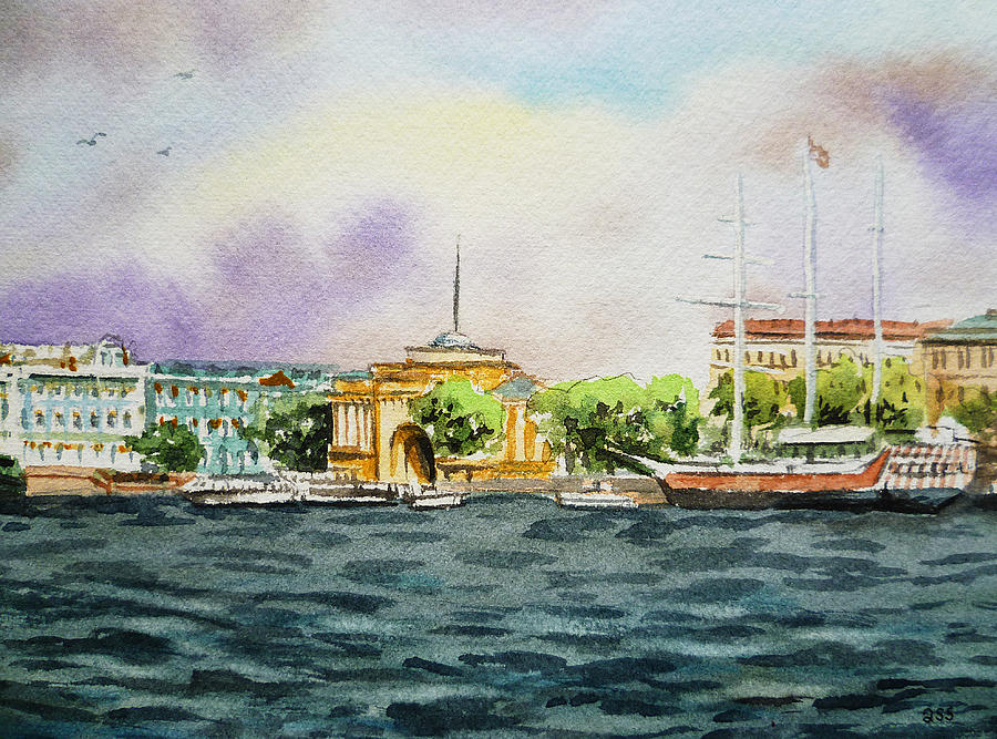 Russia Saint Petersburg Neva River Painting
