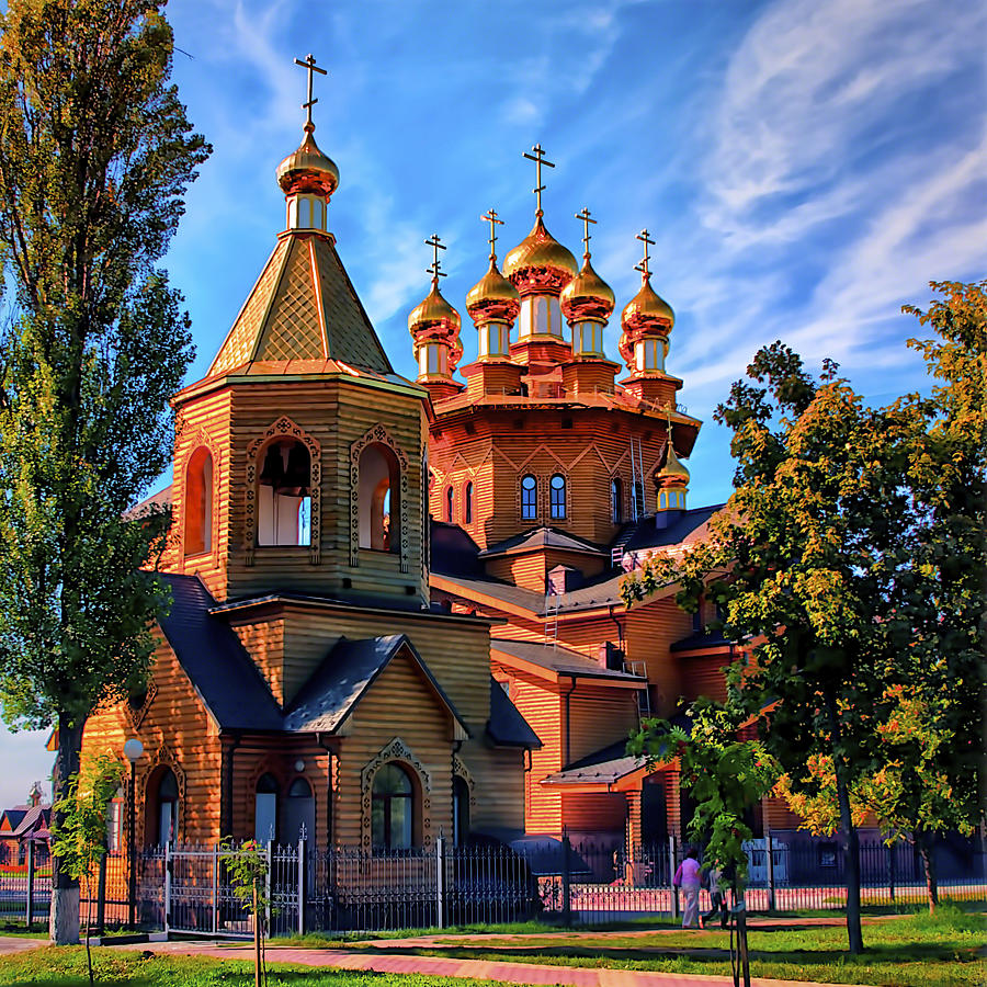 Russian Wooden Church Pyrography