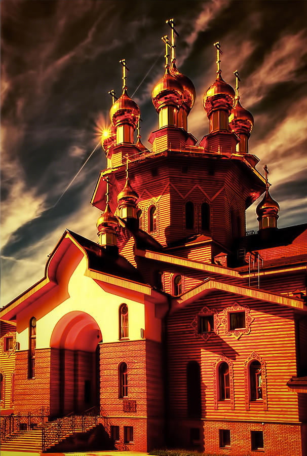 Russian Wooden Church II Pyrography