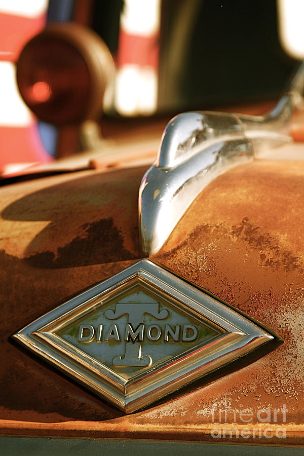 Rusted Antique Diamond Car Brand Ornament Photograph  - Rusted Antique Diamond Car Brand Ornament Fine Art Print