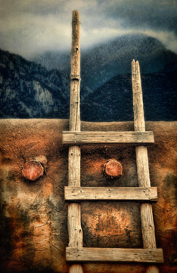 Rustic Ladder On Adobe House Photograph