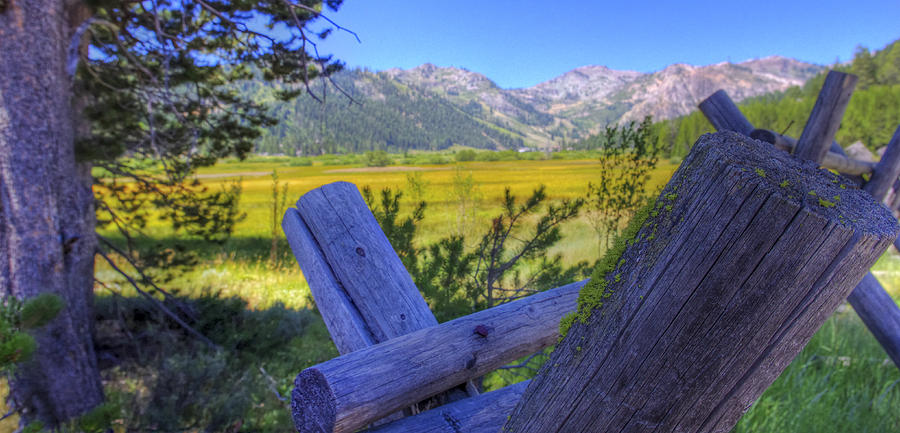 Scott M. Mcguire Photography Photograph - Rustic Moss Covered Pioneer Era Fence In Olympic Valley California by Scott McGuire