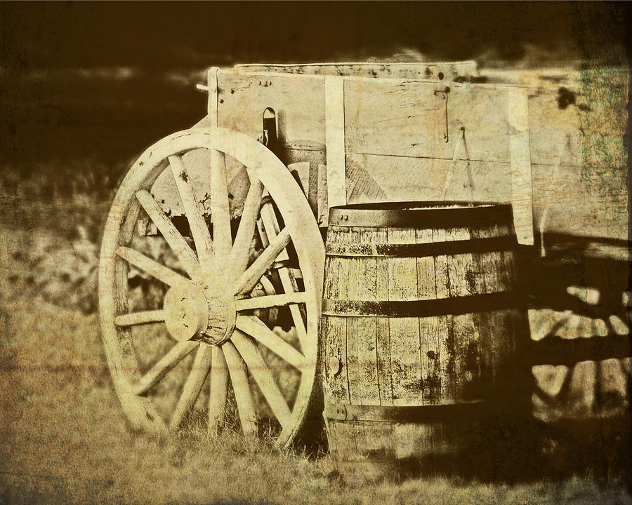 Rustic Wagon And Barrel Photograph