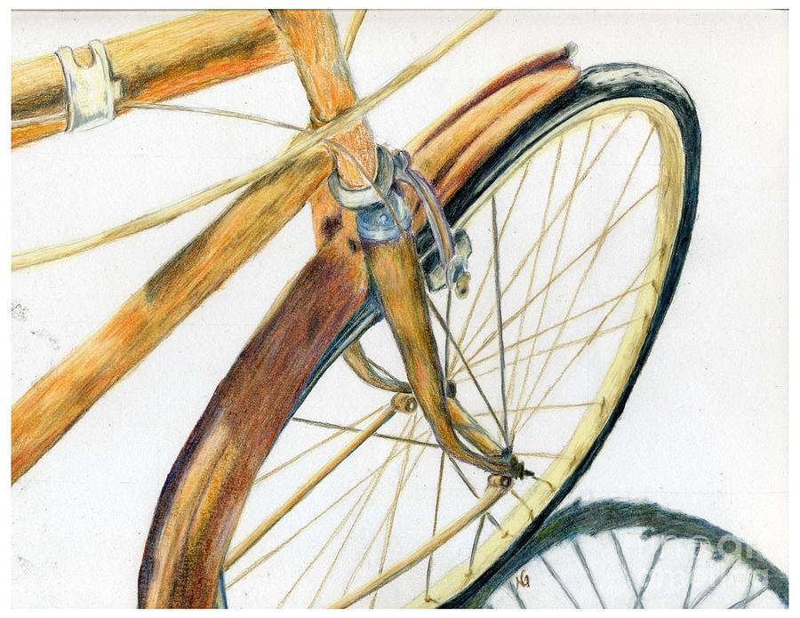Rusty Beach Bike Drawing  - Rusty Beach Bike Fine Art Print