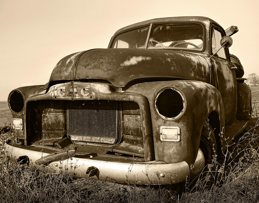 Rusty But Trusty Old Gmc Pickup Truck - Sepia Photograph