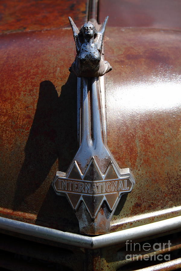 Rusty Old 1935 International Truck Hood Ornament. 7d15502 Photograph
