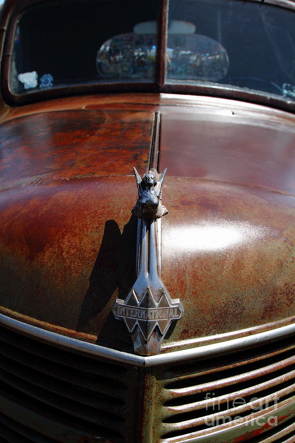 Rusty Old 1935 International Truck Hood Ornament. 7d15504 Photograph