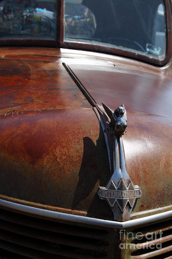Rusty Old 1935 International Truck Hood Ornament. 7d15506 Photograph  - Rusty Old 1935 International Truck Hood Ornament. 7d15506 Fine Art Print