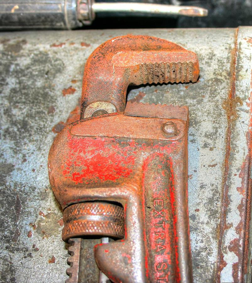 Rusty Pipe Wrench Photograph  - Rusty Pipe Wrench Fine Art Print