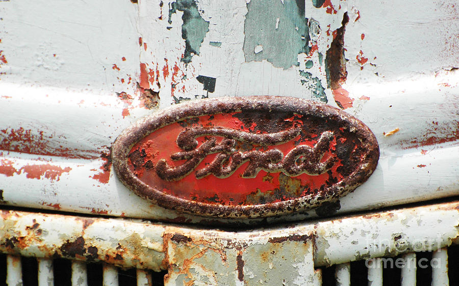 Rusty Vintage White Ford Sign Photograph