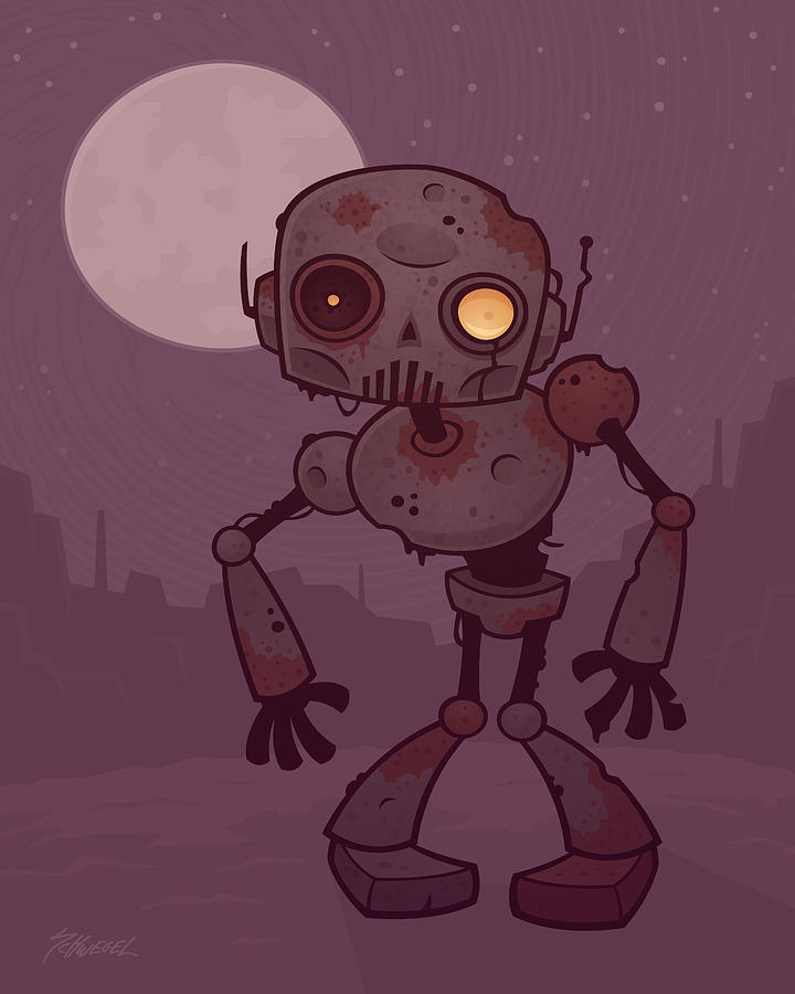 Rusty Zombie Robot Drawing
