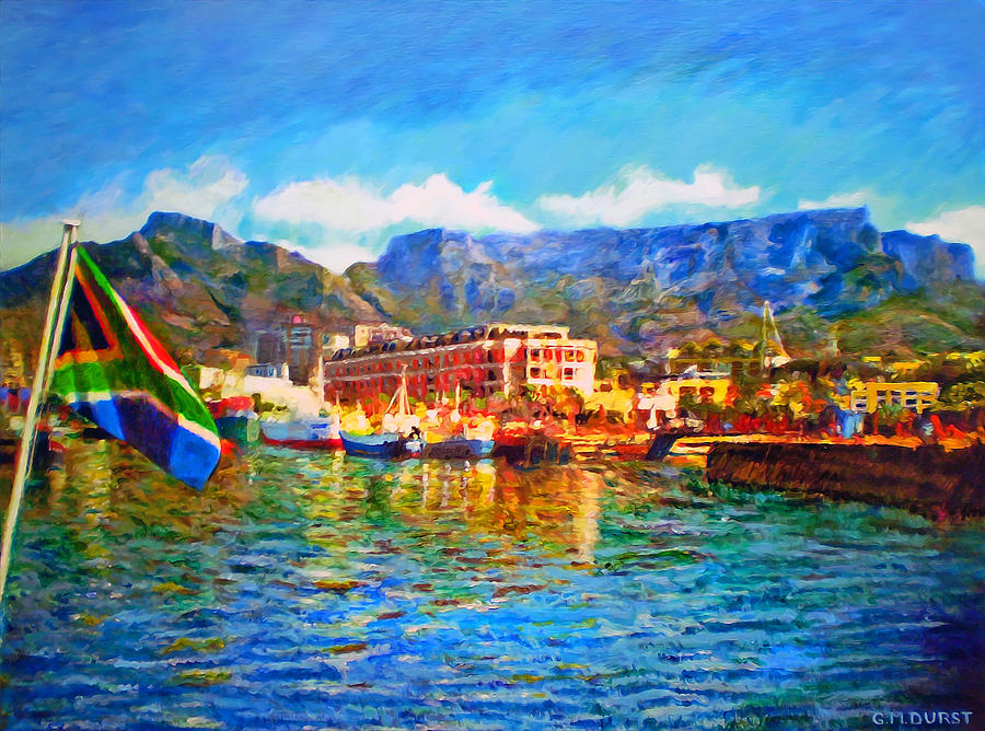 Sa Flag At The Waterfront Painting  - Sa Flag At The Waterfront Fine Art Print