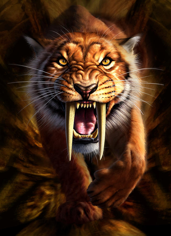 Sabertooth Digital Art  - Sabertooth Fine Art Print