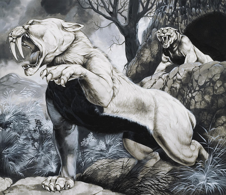 Sabre-toothed Tigers Painting